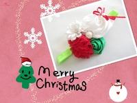 Cute Baby Girl Christmas Gifts rosette satin rose Christmas flower headband shabby vintage headband christmas hair accessories