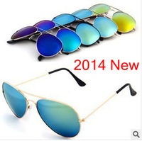 Free shipping 2014 new men woman sunglass Brand many colors reflective sunglasses wholesale