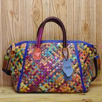 Genuine leather casual bag unique national trend sheepskin handmade woven bag handbag cross-body multicolour women's handbag
