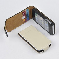 For Apple iPhone 4 4S GENUINE LEATHER Card Holder Top Filp Wallet Case Cover WHITE (Beige) O-TF-WH Free shipping