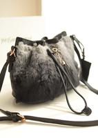 2013 fashion gradient color rabbit fur tassel bucket bag quality vintage bag messenger bag women's handbag