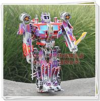 3 d dimensional paper model robot assembling toys shaped diamond