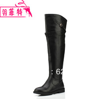 2013 cowhide knee-length boots tall boots autumn flat heel genuine leather boots female genuine leather boots