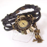 wholsale 1000pcs/lot New Arrivals High Quality Women Genuine Leather Vintage Watch,Owl Pendant Bracelet Wristwatches