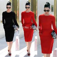Fashion Women Red Cotton Celebrity Vintage Shift Sheath Wear to Work Party Pencil Midi Dress D456