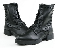 066 British Vintage Fashion Man Martin Boots 2013 Winter TOP Quality Warm Rivet Men Winter Medium-leg Boots