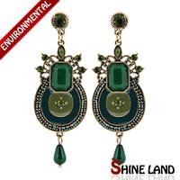 5Colors Women Ethnic Vintage Charms Multicolor Enamel Crystal Long Pendants Statement Drop Earrings Jewelry