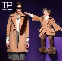 luxury style coat woman,belt design winter coat for mom,family set love(TGD1305311P)