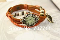New Arrivals Genuine Leather Hand Knit Vintage Watches,bracelet Wristwatches Leaf Pendant,Free Shipping Dropshipping 300pcs/lot