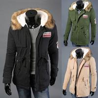 2014 Winter Jacket Men Down Jackets Parka Padded Removable Cap Whiter Green Black Khaki XXXL Cotton Coat Roupas Masculinas