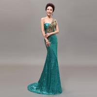 2014 New arrival Personal custom All size Long design One-shoulder train evening dress Formal dress mermaid wedding dresses