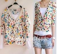 Free Shipping Women Fashion Brand Cardigans Dot Vintage Sweateshirts Knitted Wear  Cardigans CL230