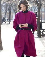 2013 European and American big woolen winter shall sleeve women casual loose woolen coat!