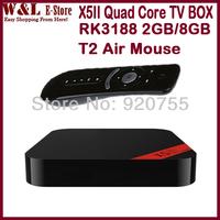 Newest X5II RK3188 Quad Core Mini PC Android TV Box 2GB RAM 8GB ROM HDMI Bluetooth RJ45 Optical XBMC Smart TV BOX + T2 Air Mouse