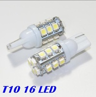 Freeshipping 100pcs/lot T10 Car light 168 194 W5W White 16 LED 16SMD 1210/3528 LED Wedge Light Bulb Lamp 12V
