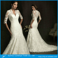 2013 Elegant lace long sleeve high neck wedding dress