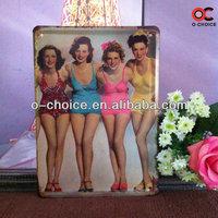 15*21CM S-9 Bikini LADY Vintage signs Wall cafe Art decor bar Antique metal Paintings