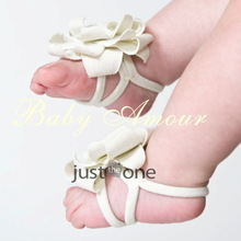 Cute Infant Toddler Baby Girl 0-12M Feet Decor Barefoot Flowers Sandals Shoes  White color(China (Mainland))