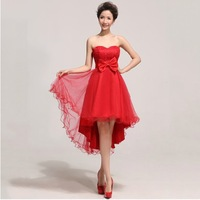 New style,high quality  passion red heart wedding dress,water soluble lace, heart-shaped strapless bridesmaid dress