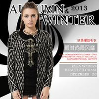 2013 western fashion women's winter clothes Classic geometric pattern jacquard long sleeve long cardigan sweater Apricot black
