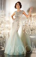 Luxury Charming New Jewel Cap Sleeve Beaded Tulle Custom Made Sleeveless Long Formal Mermaid Prom Evening Dress 2014