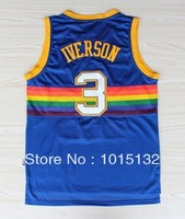 Allen Iverson Throwback Jersey Denver #3 Rainbow Blue Basketball Jersey Free Shipping