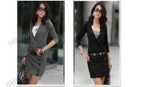 Hot New Women's dress Lady Casual Elegance Lapel Opening V Neck Long Sleeve Cotton Mini dress With Belt free shipping