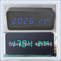 1pc free shipping Modern Design Black Wooden LED Display Digital Sound Controlled Alarm Clock Table Clock LED-C011