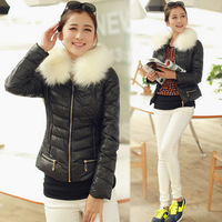 2013 autumn and winter women design short down coat cotton-padded jacket fur collar thickening wadded jacket slim thickening