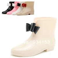 New Women's galoshes Cute Short Bow Bowknot Rain Boots Rubber Flat Heel Ankle Rainboots Fashion galoshes rainshoes