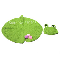 Cute Sweet Frog Newborn Baby Boy Girl Crochet Aminal Beanie Hat Costume Set Photo Photography Prop For 0-6 Months Free shipping