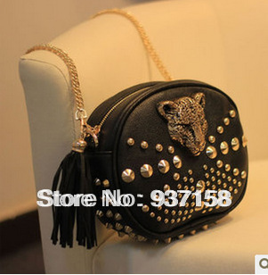 Leopard head punk rivet bag mini women's handbag small messenger chain bag shoulder casual bag evening handbags cool halloween(China (Mainland))