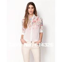 Women Shirt 2014 New Fashion Spring Summer Autumn Floral Blouse Elegant Button Lapel Collar Chiffon Shirts Women Clothing
