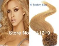 0.5 0.7 1g100s Easy Pre bonded Italian keratin Fusion Nail U tip Brazlian Human Hair Extensions 22 24 26 inch Strawberry  Blonde
