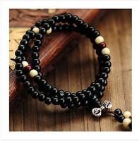 5 Pcs! Free Shipping! T22  Wholesale Fashion Ebony Separated Beads 108 6mm  Buddha Bracelet  Wood Religion Jewelery Men / Women