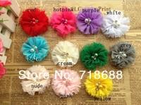 "50pcs/lot 2""chiffon Chiffon Flowers Two Pearl Two Rhinestone Flower ,Handmade chiffon Flowers,Hair Acessories AngelBaby"