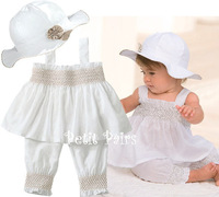 2014 new hot selling summer children baby clothes  sets clothing hat+ dress + pants  with elastic cuffes