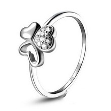 christmas passion honey 100% Real Pure 925 Sterling Silver Elegant Bride Wedding Ring,clover zircon rings TOP quality RW02142