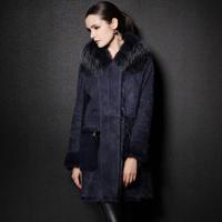 Fashion women's raccoon fur large lapel wool fur one piece genuine fur coat leather clothing  Desigual Free Shipping