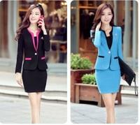 2015 Autumn Korean Women Slim OL temperament wear women's fashion career skirt suit  with Corsage
