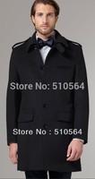 men cashmere casual jacket Black Overcoat cashmere middle length coat