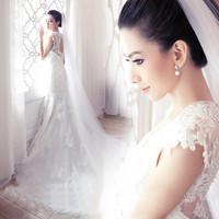 Wedding Dress 2014 fashion Princess Sweet Lace Embroidery White Trailing Fishtail Halter Plus Size Mermaid Wedding Dresses