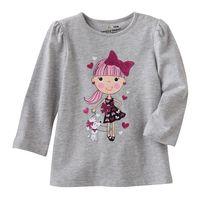 1-5yrs Baby Girls TShirt 100 Cotton Cute Girls Top Shirt Cartoon Style Gray Retail 761