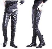 New 2013 Fashion Brand Black Slim Motorcycle Faux Leather Sweatpants Men,Boys Jogging Dance Hip Hop Pants Trousers Size M-XXXXL