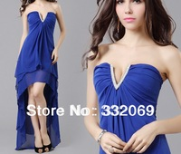 1 pcs Fashion Sexy Elegant Strapless Sleeveless Pleated Asymmetrical Party Evening Dress Blue Free Shipping