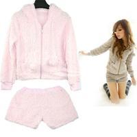 Women's Leisure set Cotton Wool Loose Comfortable Autumn Suit Long Sleeve Coat + Shorts Set New Free shipping