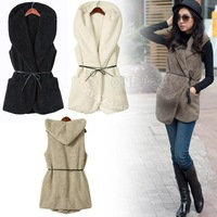 Fashion Womens Ladies Hoodie Faux Lamb Fur Long Vest Jacket Coat With Hat 5colors free shipping