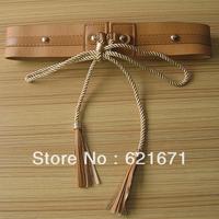 2014 Women/Female Bohemian Fashon All-match Riveted PU Leather Wide Belt Woven Rope Tassels Bowknot Waistband Free Shipping
