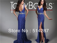 Asymmetrical Neckline Spaghetti Strap Crystal Long Blue Lace Straight Tony Bowls Prom Dresses 2014 New Fashion Party Dress