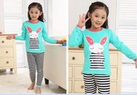 2013 Fashion Children's Cartoon Pajamas Sets Girls Underwear Child Sleepwear Clothing Set  Size S Family Kids Nightgown Suits